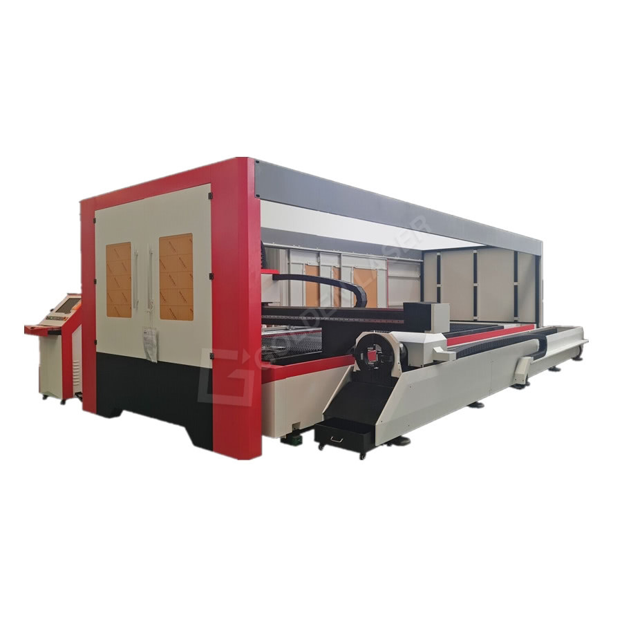 2500w Dual Table Fiber Laser Metal Sheet And Pipe Cutting Machine For Lighting Lamps