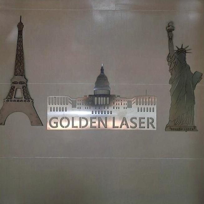 Golden Laser Metal Signs