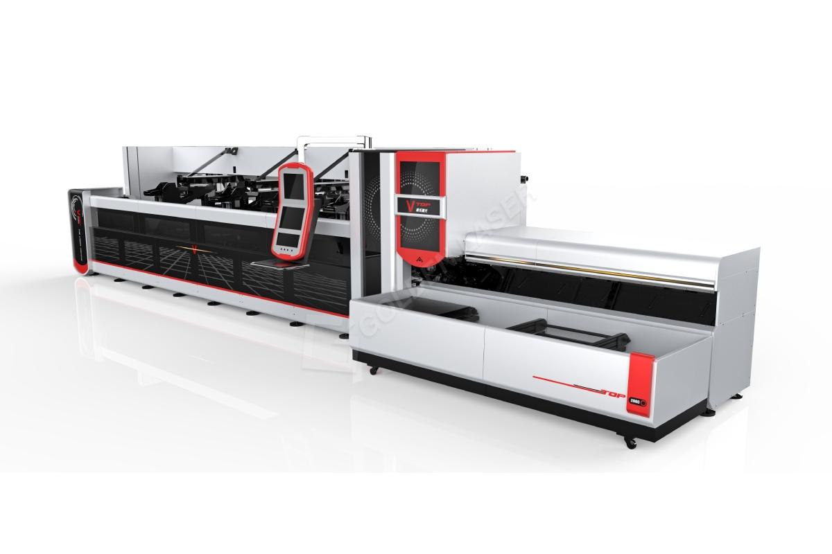 3000W 4000W helautomatisk Fiber Laser Pipe Cutting Machine För Heavy Machinery