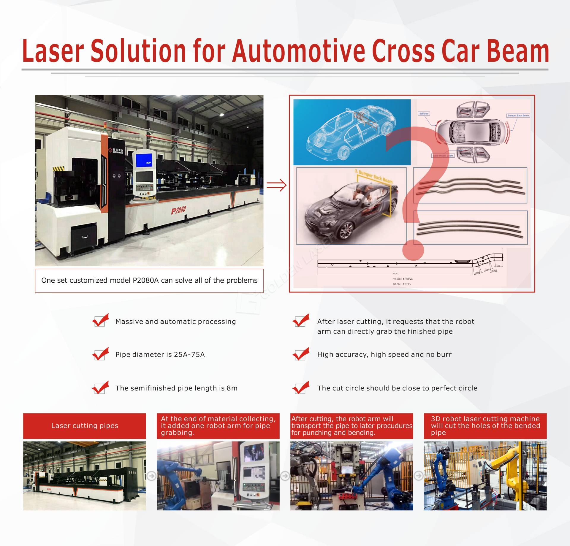 cross car beam laser cut solution from Golden Laser