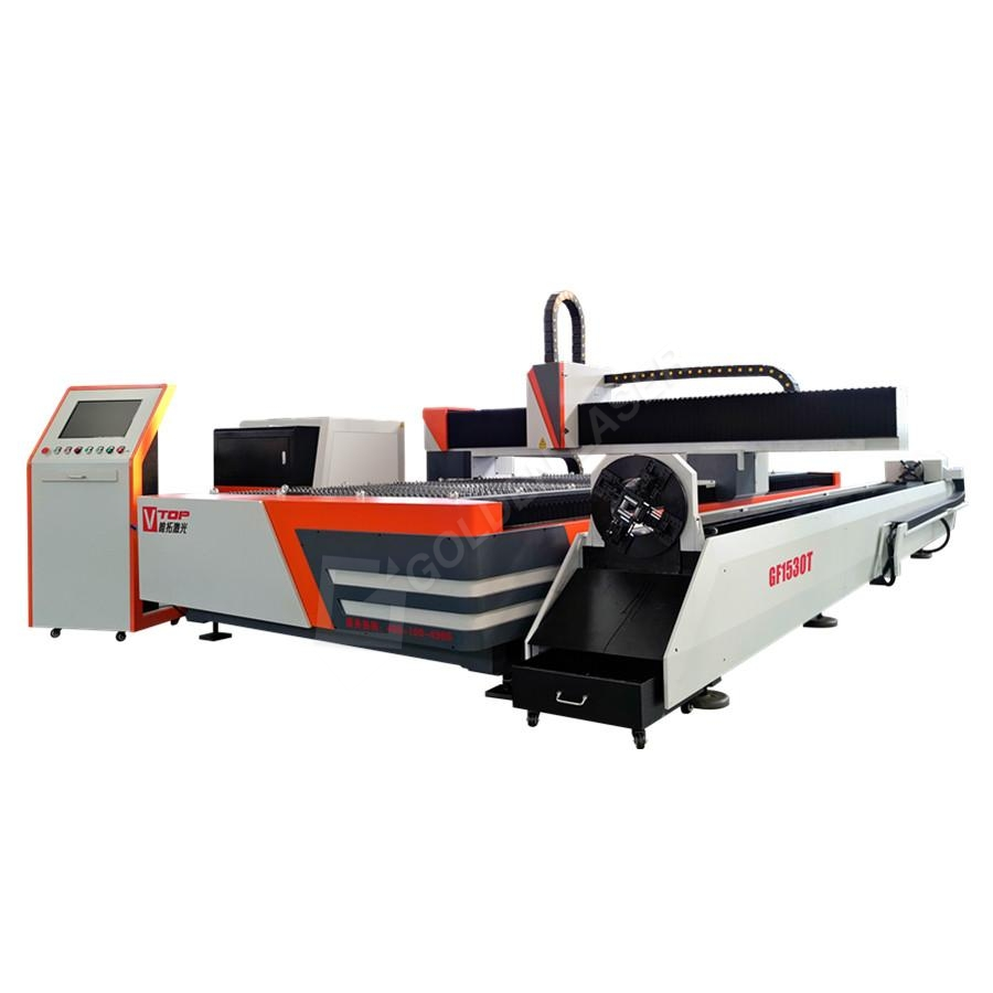 Metaal Tube en Plate Fiber Laser Cutting Machine Mei Rotary Device