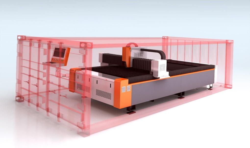 free installation fiber laser cutting machine for 20GP