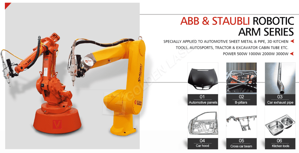 Robot arm for laser cutting machine
